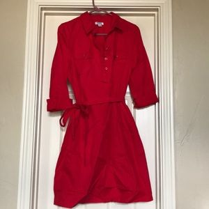 Collared, red cotton dress with 3/4 sleeves